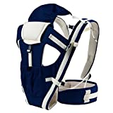 Homieco Breathable Infant Baby Soft Sling Carrier Ergonomic Adjustable Wrap Newborn Baby Backpack Front Back Carrier Backpack with Hipseat