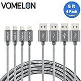 Micro USB Cable, 4Pack 6FT Tangle-Free Nylon Braided Extra Long USB Cord Compatible with Samsung Galaxy S7, Huawei , Motorola, LG, HTC, Sony, Android Phones and Tablets, Kindle -Silver+Gray