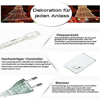 Hengda LED Eisregen Lichterkette Warmwei/ß 20M 600leds LED Lichtkette ideal f/ür Innen und Au/ßen 220V IP44 Wasserdicht 8 Modi
