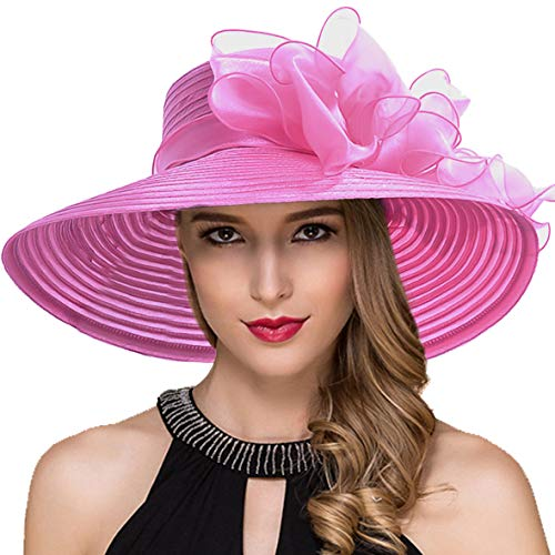 Women Kentucky Derby Church Dress Cloche Hat Fascinator Floral Tea Party Wedding Bucket Hat S052 (S062-Rose)