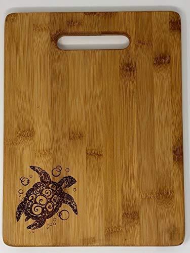 All Things Sea Turtles Single Tone Bamboo Cutting Board w/handle, Sea Turtle, 8.75 x 11.5 (Handle Single Bamboo)