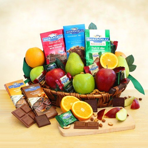 Healthy and Decadent Fresh Fruit and Chocolates Gift Basket by The Gift Basket Gallery