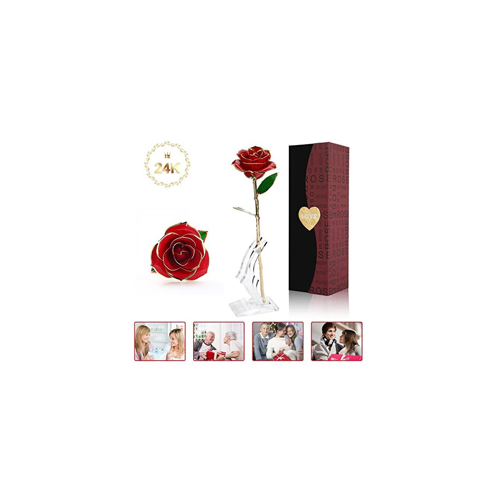 AUSPT-24k-Gold-Rose-Long-Stem-Gold-Forever-Roses-with-Display-Stand-in-Box-Best-Romantic-Gift-for-Valentines-Day-Mothers-Day-Anniversary-Birthday-Gift-Treating-Yourself-Galentines-Day