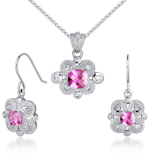 Antique Checkerboard - Antique Styling 4.50 carats Cushion Checkerboard Cut Created Pink Sapphire Pendant Earrings Set in Sterling Silver Rhodium Nickel Finish