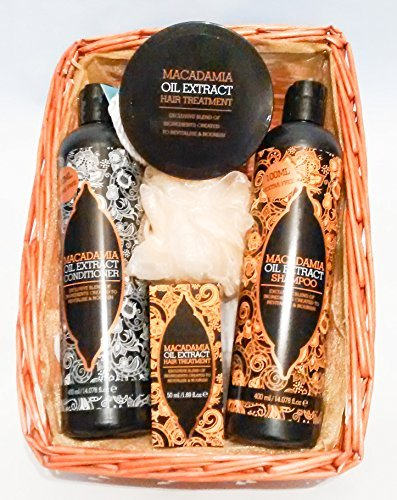 Marvellous Macadamia Oil Extract Luxury Hair Pamper Gift Hamper - Cellophane & Ribbon Wrapped Organza Lined Basket by Gifts4U