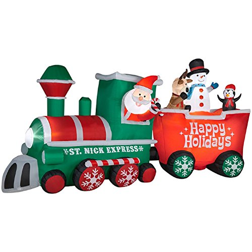 CHRISTMAS INFLATABLE 15 1/2' ST. NICK EXPRESS TRAIN W/ CONDUCTOR SANTA BY GEMMY (Christmas Inflatable Train)
