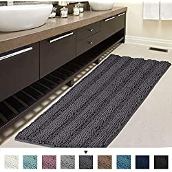"""Bath Rug Runner 47"""" X 17"""" Large and Luxury Grey Striped Bath Mat Runner Ultra Soft Thick Non Slip Washable, Plush Shaggy Chenille Bathroom Rug Mat for Indoor Floor/Entry Way"""