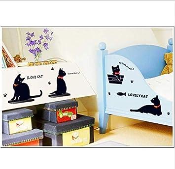 XQWZM Vinilos Decorativos De Pared De Vinilo Familiar De Gato Negro Calcomanías De Pared para Niños Viveros Salas De Estar: Amazon.es: Hogar