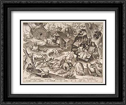 Pieter Van - Pieter Van der Heyden - 24x20 Black Ornate Frame and Double Matted Museum Art Print - Sloth (Desidia), from The Series The Seven Deadly Sins