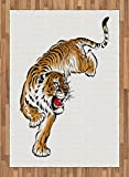 Tiger Area Rug by Ambesonne, Japanese Inspired Large Feline Japanesque Design Free Hand Drawing Traditional, Flat Woven Accent Rug for Living Room Bedroom Dining Room, 5.2 x 7.5 FT, Black Pale Brown