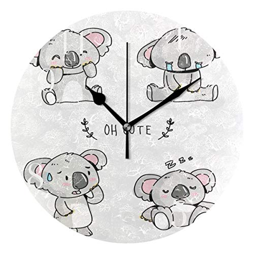 (FunnyCustom Round Wall Clock Cute Koala Bear Expression Pack Acrylic Creative Decorative for Living Room/Kitchen/Bedroom/Family)