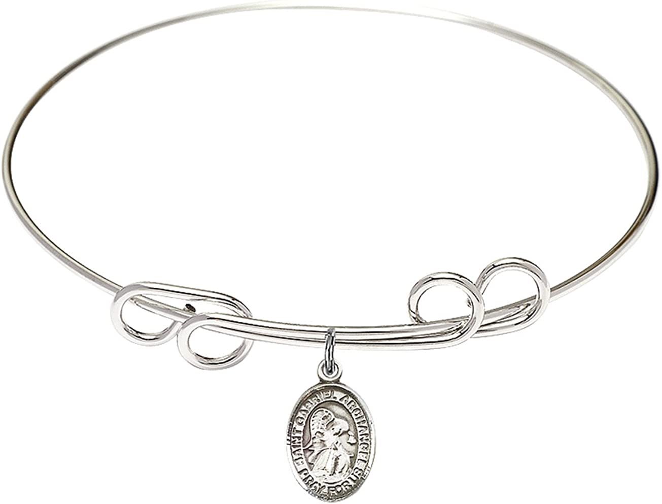 DiamondJewelryNY Double Loop Bangle Bracelet with a St Gabriel The Archangel Charm.