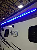 NEW Recreation Pro RV 12' BLUE LED AWNING PARTY LIGHT 12V W/ MOUNTING CHANNEL - BLACK PCB