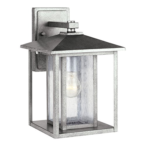027-57 Hunnington One-Light Outdoor Wall Lantern With Clear Seeded Glass Panels, Weathered Pewter Finish ()