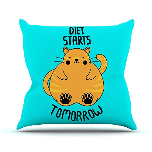 26 by 26 Kess InHouse Tobe Fonseca Diet Starts Tomorrow Blue Cat Throw Pillow