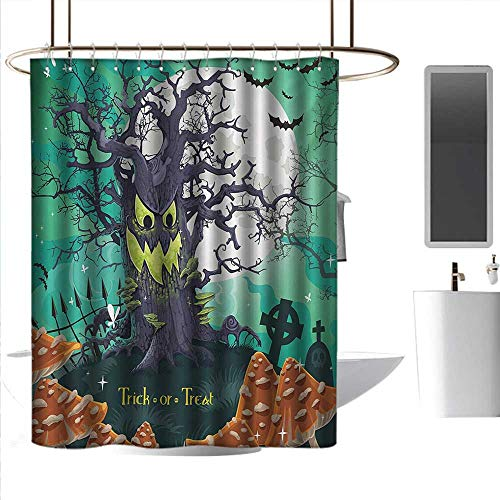 homehot Shower Curtains Blue and Black Halloween,Trick or Treat Dead Forest with Spooky Tree Graves Big Kids Cartoon Art Print,Multicolor,W55 x L84,Shower Curtain for Girls ()