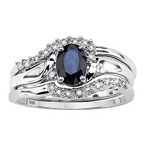 Ring Eternity Diamond Round Brilliant - Genuine Blue Sapphire and Diamond Accent Platinum over .925 Silver 2-Piece Bridal Ring Set