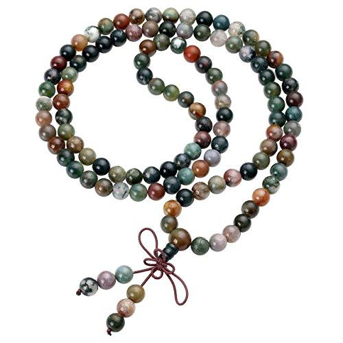 Top Plaza Unisex 108 Buddha Prayer Beads Natural Reiki Healing Meditation Gemstone Wrap Bracelets Mala Buddhist Rosary Necklace(8mm India Agate) ()
