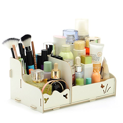 Meiyiu DIY Wood Beauty Makeup Storage Drawers Box Cosmetics Organizer Removable Case White