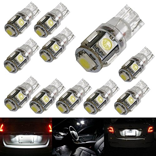iJDMTOY ® (10) 5-SMD-5050 168 194 2825 W5W LED Replacement Bulbs For Car Interior Map/Dome Lights, License Plate Lights, Parking Lights, Xenon White