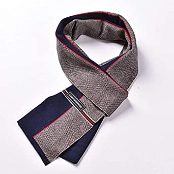 Uptell Mens wool scarf winter warm scarf color matching cashmere scarve