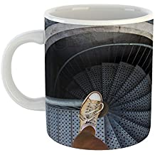 Westlake Art - Dark Stairway - 11oz Coffee Cup Mug - Modern Picture Photography Artwork Home Office Birthday Gift - 11 Ounce (8D31-809BC)