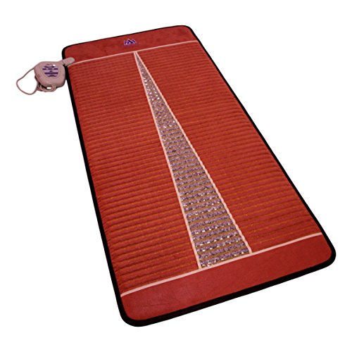Far Infrared Amethyst Mat Pro (71''L x 32''W) - Negative Ion - FIR Therapy Heating Pad - 100% Natural Amethyst Crystals - FDA Registered Manufacturer - Adjustable Temperature Setting - Reddish Brown by MediCrystal