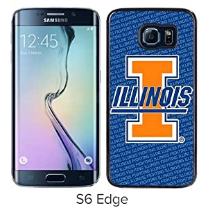 Fashionable Samsung Galaxy S6 Edge Case ,Unique And Popular Designed Case With Ncaa Big Ten Conference Football Illinois Fighting Illini 17 Black Samsung Galaxy S6 Edge Great Quality Screen Case