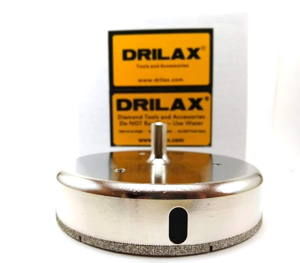 Drilax™ 4-7/8'' Diamond Drill Bit Hole Saw (Smaller Than 5 '') Ceramic, Porcelain Tiles, Glass, Fish Tanks, Marble, Granite, Quartz Diamond Coated Circular Saw - Kitchen, Bathroom, Shower, Faucet Wet Drilling Tool 4 7/8 Inches in Drilax010125