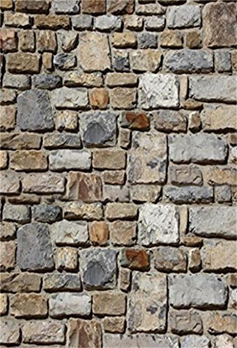 Laeacco 5x7ft Vinyl Photography Background Grunge Stone Brick Wall Texture Rustic Countryside Personal Photo Backdrops Portraits Shooting Video Studio Props -