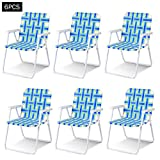 Giantex 6 PCS Folding Beach Chair Portable Camping Steel Frame Lightweight Support 265 Lbs Lawn Webbing Chair (Bule)