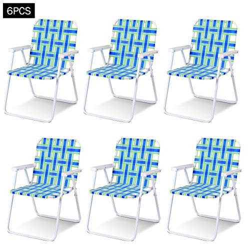 Giantex 6 PCS Folding Beach Chair Portable Camping Steel Frame Lightweight Support 265 Lbs Lawn Webbing Chair (Bule) by Giantex