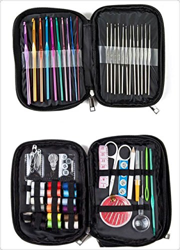 Professional Sewing Kit+ Crochet Kit And Knitting Accessories - Most Useful For Home,Travel,Emergency. Perfect For Adults And Kids. Includes Sewing Tools, 49 Crochet Hooks Yarn Knitting Needles & More