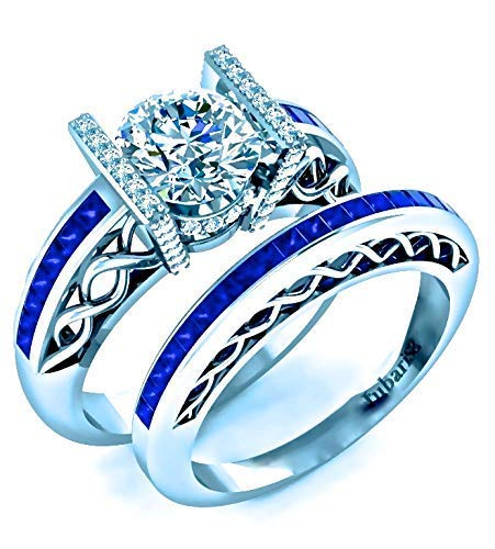 2.25 Ctw. Round Contemporary Blue Sapphire & Diamond Engagement Ring & Wedding Band Bridal Sets Custom Channel Braided Shank White Gold Fine Jewelry