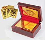 24K Gold Foil Plated Playing Cards 100 Dollar Full Poker Deck and packed with wood box and Certificate NEW