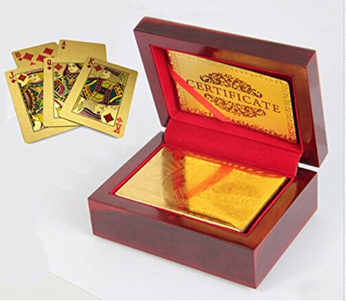24K Gold Foil Plated Playing Cards 100 Dollar Full Poker Deck and packed with wood box and Certificate NEW (Card Lattice)