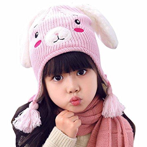 Knitted Cap Pattern (Aivtalk Baby Girls Rabbit Pattern Cap Winter Soft Woolen Knitted Hat Pink - M)