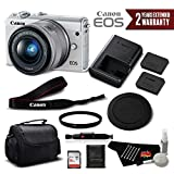 Canon EOS M100 Mirrorless Digital Camera with 15-45mm Lens (White) 2210C011 International Version - Standard Bundle