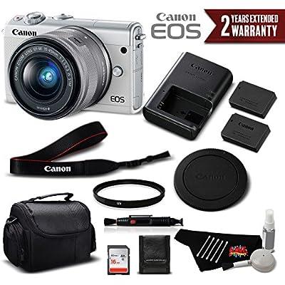 Canon EOS M100 Mirrorless Digital Camera with 15-45mm Lens (White) 2210C011 International Version (No Warranty) - Standard Bundle