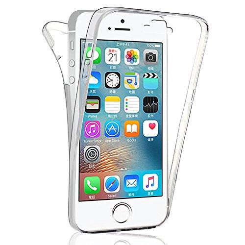 VSHOP ® iPhone 5 5S SE Coque Gel TPU Silicone Etui Intégrale Transparent Case pour iPhone 5 5S SE Housse Protection Full Silicone Souple Case, iPhone 5 5S SE Ultra Mince Fine Slim Leger Tactile Deux P