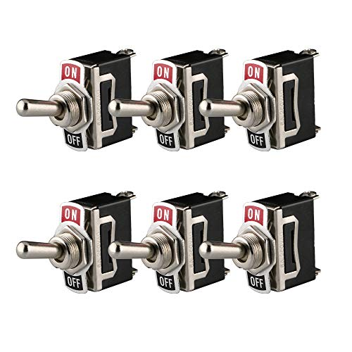 ARTGEAR Universal Rocker Toggle Switch 10A 125V / 6A 250V, 2 Pin SPST ON/Off Switch with Metal Bat, Used for Car Auto Truck Boat (Pack of 6, Black)