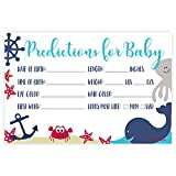 Nautical Whale Baby Shower Predictions Cards (50 Count)