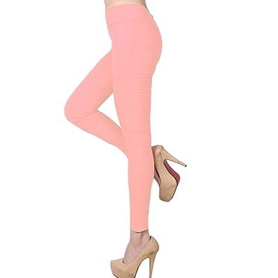 Degohome Womens Basic Blend High Waist Pencil Pants Solid Color Leggings