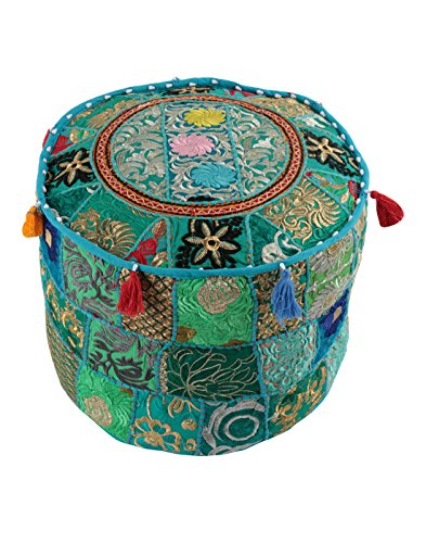 Home Decorative Ottoman Pouf Cover Turquoise Green Traditional Living Room Foot Stool Handmade Floor Pillow Chair Vintage Cotton Cushion Covers Embroi…