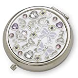 Silver Plated Compact Mirror - with Austrian crystals - Butterflies and Keys design ideal 18th or 21st Birthday gift for a girl by WD