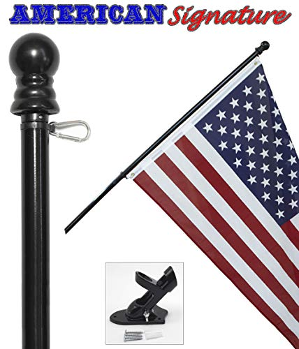 American Flag and Pole kit Set: Includes a 3x5 ft US Flag Made in USA, 6 ft Aluminum Tangle Free Spinning Flag Pole with carabiners, and flagpole Holder Wall Mount Bracket (Black) ()