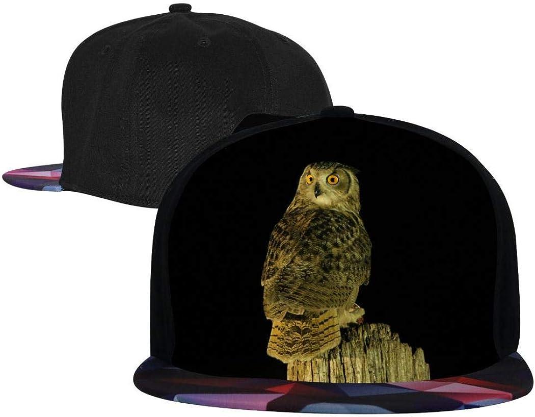 Therwd Unisex Hip Hop Cap 3D OWL Printed,Cool Rock Classic Fashion Snapback Hats,Adjustable Bill Baseball Cap,Dancing Flat Brim Baseball Cap Red