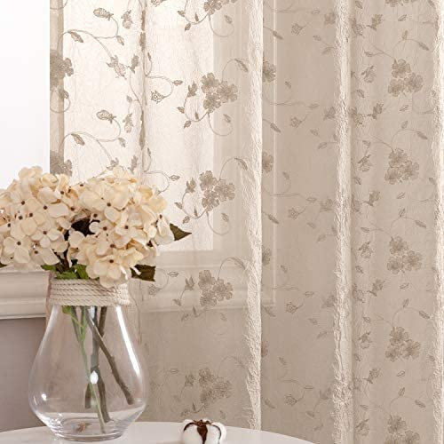 Sheer Curtains Living Room Bedroom Beige 63 inch Flower Embroidered Voile Window Curtain Set 2 Panel