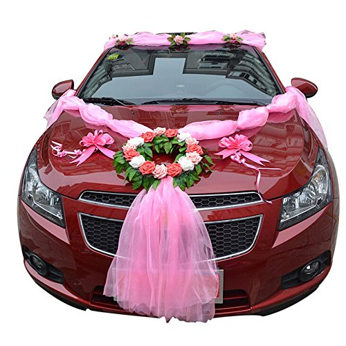 Wedding car decoration wedding car ribbon with rose and garland wedding car decoration wedding car ribbon with rose and garland flower wedding car decoration kit buy online in uae wedding accessories products in the junglespirit Gallery
