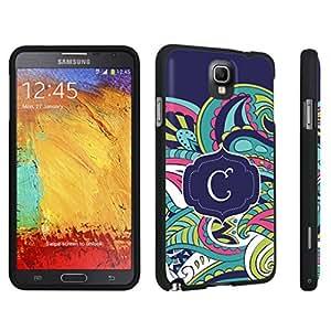 DuroCase ? Samsung Galaxy Note 3 Hard Case Black - (Mint Flower Monogram C)